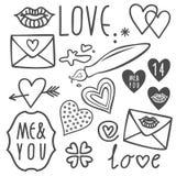Griffonnages de jour de valentines d'amour réglés Image stock