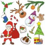 Griffonnages de Joyeux Noël Photographie stock