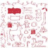 Griffonnages de Joyeux Noël Image stock