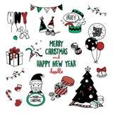Griffonnages de Joyeux Noël et de bonne année substance mignonne pour de fête dans des styles de griffonnages Image stock