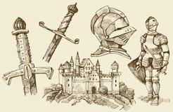 Griffonnages de Moyen Âge Photographie stock