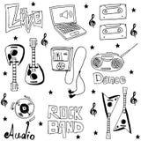 Griffonnages de musique d'élément sur les backrgounds blancs Photographie stock libre de droits