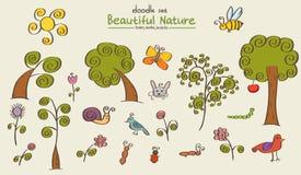 Griffonnages de nature réglés illustration stock