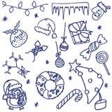 Griffonnages de Noël Image stock