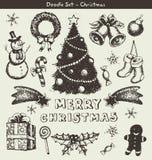 Griffonnages de Noël Images stock