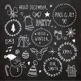 Griffonnages de Noël de tableau réglés Photographie stock libre de droits