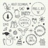 Griffonnages de Noël et de nouvelle année réglés Photos stock