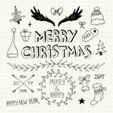Griffonnages de Noël et de nouvelle année réglés Photographie stock libre de droits