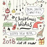 Griffonnages de Noël et de nouvelle année réglés Photographie stock