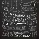 Griffonnages de Noël et de nouvelle année réglés Image libre de droits