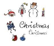 Griffonnages de Noël, positionnement I Photographie stock