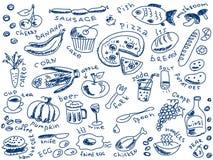 Griffonnages de nourriture Image libre de droits