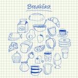 Griffonnages de petit déjeuner - papier carré Photographie stock