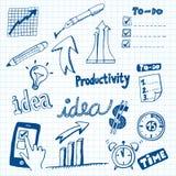Griffonnages de productivité Photos libres de droits