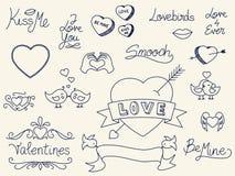 Griffonnages de Saint-Valentin Images libres de droits