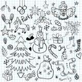 Griffonnages de vacances de Noël et d'hiver Photographie stock libre de droits
