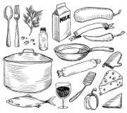 Griffonnages de vaisselle réglés illustration stock