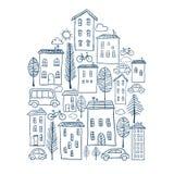Griffonnages de ville dans la forme de maison Image stock
