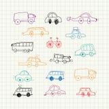 Griffonnages de voitures réglés Photo stock