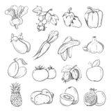 Griffonnages des légumes et des fruits, vegan de dessin de main faisant cuire des icônes de nourriture illustration stock