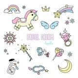 Griffonnages en pastel de rêve Styles de dessin de main pour des objets de pastel d'imagination Image stock