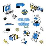 Griffonnages mignons de media et d'icône sociaux de technologie Le dessin de main dénomme l'icône sociale de media Photographie stock libre de droits