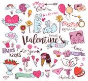 Griffonnages mignons de Valentine Images stock