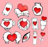 Griffonnages peu précis d'amour et de coeurs Photographie stock libre de droits