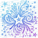 Griffonnages peu précis de cahier d'étoile sur le papier rayé Photo stock
