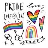 Griffonnages tirés par la main abstraits de LGBT Lettrage de fierté, d'amour et de paix, coeurs d'arc-en-ciel Ensemble d'icônes d illustration de vecteur