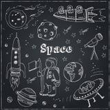 Griffonnages tirés par la main d'astronomie Étoiles, planète et transport de l'espace utilisé pour l'éducation d'école et la déco illustration stock