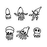 Griffonnages tirés par la main de poulpe réglés Icônes de style de croquis Décoration e illustration libre de droits