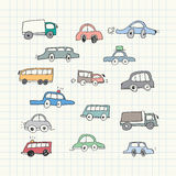 Griffonnages tirés par la main de voiture Illustration de vecteur Images libres de droits