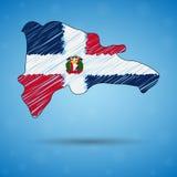 Griffonnez la carte de la République Dominicaine  Carte de pays de croquis pour infographic, des brochures et des présentations,  illustration libre de droits