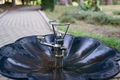Grifo del agua potable en parque público Imagen de archivo libre de regalías