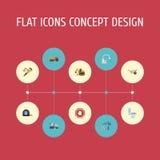 Grifo plano de los iconos, lavabo, muestra de la parada y otros elementos del vector El sistema de símbolos planos de los iconos  ilustración del vector