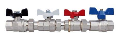 Grifos de agua para el abastecimiento de agua casero o los sistemas hearting Foto de archivo