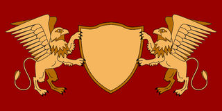 Grifos que guardam um protetor Emblema com animais mitológicos Tema medieval heráldica Graphhics do vetor ilustração stock