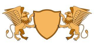 Grifos que sostienen un escudo Emblema con los animales mitológicos Tema medieval armería Graphhics del vector libre illustration