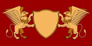 Grifos que sostienen un escudo Emblema con los animales mitológicos Tema medieval armería Graphhics del vector stock de ilustración