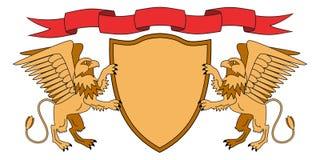 Grifos que sostienen un escudo Escudo con la cinta armería Emblema medieval Vector Iillustrations stock de ilustración