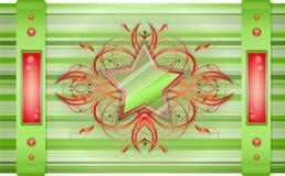 Grigio - fondo verde con la stella. Fotografia Stock