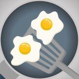 Grigli la progettazione, l'uovo ed il concetto del menu, vettore editabile Immagine Stock Libera da Diritti
