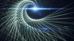 griglia bianca di spirale di 3D Wireframe nel fondo di Loopable dello spazio cosmico illustrazione di stock