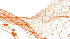 Griglia 3D o maglia d'ondeggiamento arancio pulita astratta come fondo unico Ambiente di vibrazione geometrico arancio o palpitar royalty illustrazione gratis