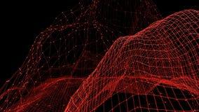 Griglia 3D o maglia d'ondeggiamento rossa pulita astratta come bello fondo Ambiente di vibrazione geometrico rosso o per la matem video d archivio