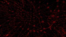 Griglia 3D o maglia d'ondeggiamento rossa pulita astratta come fondo del fumetto Ambiente di vibrazione geometrico rosso o per la video d archivio