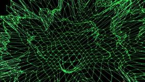 Griglia 3D o maglia d'ondeggiamento verde pulita astratta come benissimo fondo Ambiente di vibrazione geometrico verde o per la m illustrazione di stock