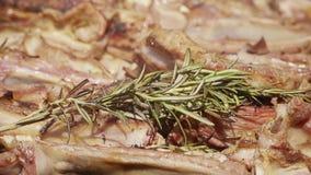 Griglia del ¾ n della carne Ð con i rosmarini, il pepe ed il sale stock footage
