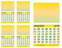 Griglia del calendario gennaio febbraio procedere aprile royalty illustrazione gratis
